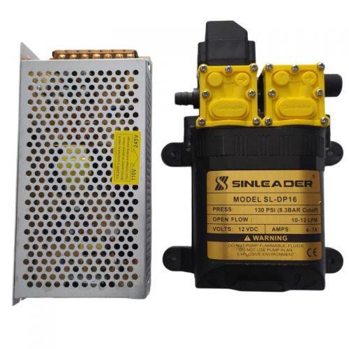 Máy bơm tăng áp phun sương tưới lan đôi SINLEADER 12V kèm nguồn 12V10A