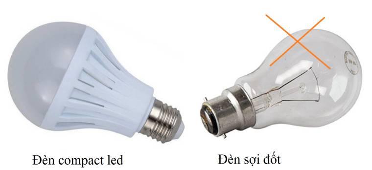 dung den compact led thay cho den soi dot